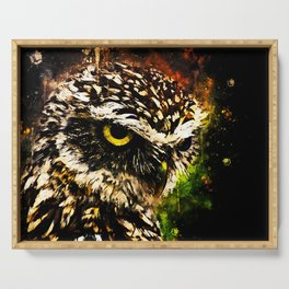 burrowing owl splatter watercolor Serving Tray