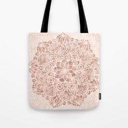 Mandala Seashell Rose Gold Coral Pink Tote Bag