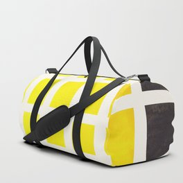 Yellow Minimalist Mid Century Grid Pattern Staggered Square Matrix Watercolor Painting Duffle Bag