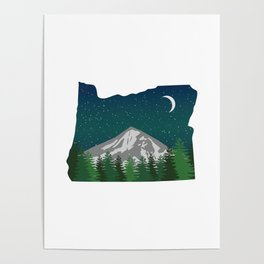 Oregon Mountain on a Clear Night Poster