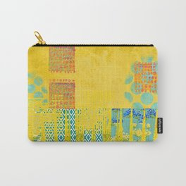 Yellow & Turquoise Abstract Art Collage Carry-All Pouch