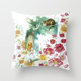 Floral Alice In Wonderland Throw Pillow