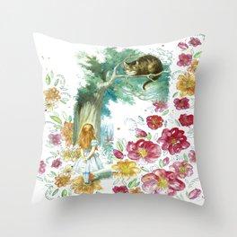 Floral Alice In Wonderland Throw Pillow