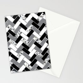 Shuffled Marble Herringbone - Black/White/Gray/Silver Stationery Cards