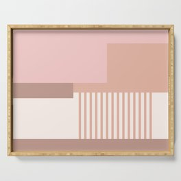 Sol Abstract Geometric Print in Pink Serving Tray
