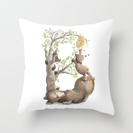 B is for Brown Baby Bears & Buzzing Bees! - Nursery Decor - Laugh-A-Bit Alphabet by BirdsFlyOver Throw Pillow