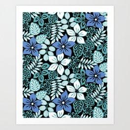 Tropical Floral Aqua Art Print