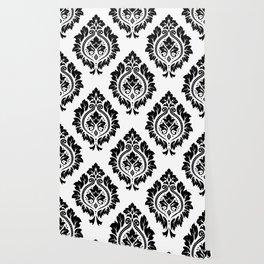 Decorative Damask Art I Black on White Wallpaper