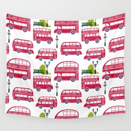 London Bus Pattern Wall Tapestry