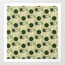 Floral Pattern   Forest Green on Earthy Tan Art Print
