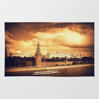 moscow Area & Throw Rugs featuring Moscow Kremlin by Amdis Rain