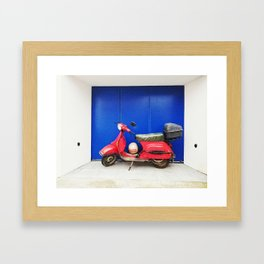 Red Vespa Framed Art Print