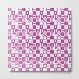 Contraception Pattern (Purple) Metal Print
