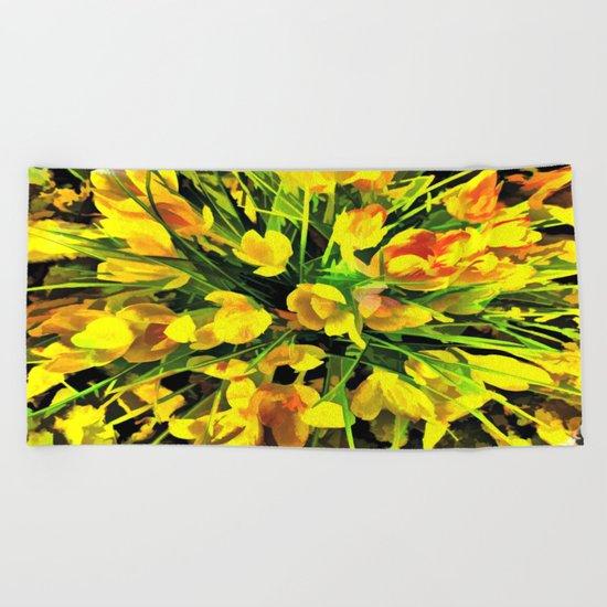Painterly Yellow Crocuses Beach Towel