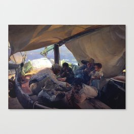Lunch on the Boat by Joaquin Sorolla, 1898 Canvas Print