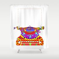 typewriter Shower Curtains featuring Typewriter by Design4u Studio