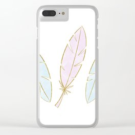 Gold Pastel Feathers in Pale Pink & Blue Clear iPhone Case