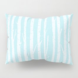 White winter birch forest- With snow covered trees- pattern on teal Pillow Sham