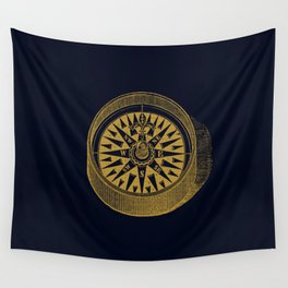 The golden compass I- maritime print with gold ornament Wall Tapestry