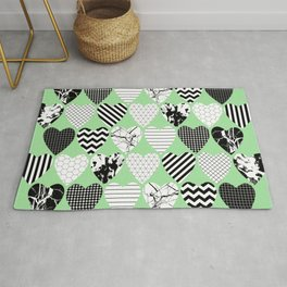 Hearts On Pastel Green - Abstract, black and white, geometric Rug