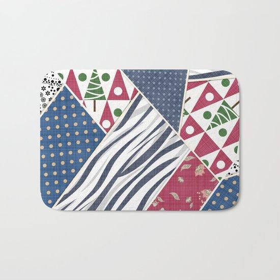 Abstract pattern .Textile patchwork patchwork . Bath Mat