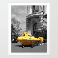 yellow submarine Art Prints featuring yellow submarine  by 33bc