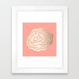 Rose White Gold Sands on Salmon Pink Framed Art Print