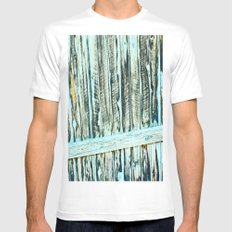Abstract Wood White Mens Fitted Tee MEDIUM