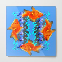 SURREAL GOLD FISH & BLUE BUTTERFLIES ARTWORK Metal Print
