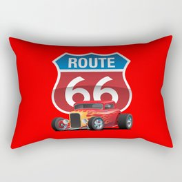 Route 66 Sign with Classic American Red Hotrod Rectangular Pillow