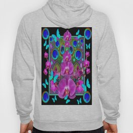 Decorative purple, Blue, Pink Orchids Butterflies Peacock Eyes Hoody