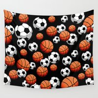 basketball Wall Tapestries featuring Soccer & Basketball by joanfriends