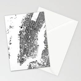 New York Map Schwarzplan Only Buildings Stationery Cards