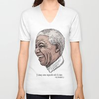mandela V-neck T-shirts featuring Mandela by Fortissimo6