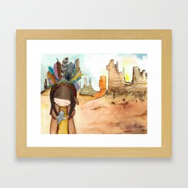 A little Native American girl with a grey bird Framed Art Print