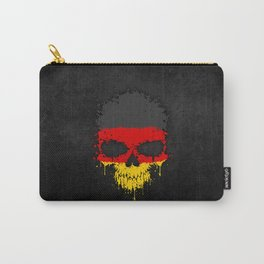 Flag of Germany on a Chaotic Splatter Skull Carry-All Pouch