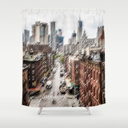 Chinatown, New York City Landscape Painting by Jeanpaul Ferro Shower Curtain