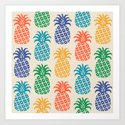 Retro Mid Century Modern Pineapple Pattern in Multi Colors by tonymagnerdesign
