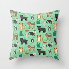 Amazon Jungle Animals Pattern Throw Pillow