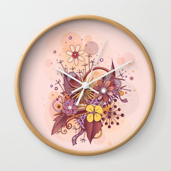 Zentangle, summer rose pink, purple doodle Wall Clock