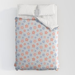 Blue Pink Flower Pattern Comforters