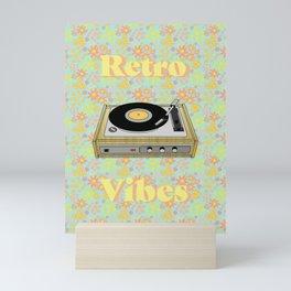 Retro Vibes Record Player Design in Yellow Mini Art Print