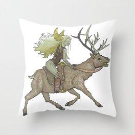 Elk Rider Throw Pillow