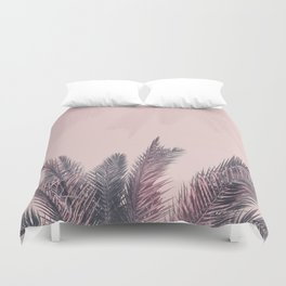 Pretty in Pink Tropical Palm Leaves Duvet Cover
