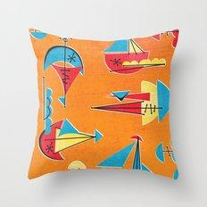 Atomic Sail Boats Throw Pillow