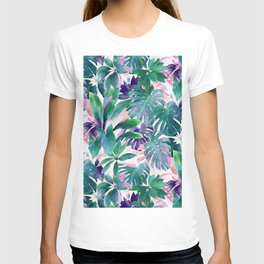Pastel Summer Tropical Emerald Jungle T-shirt