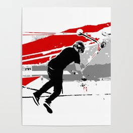 Spinning the Deck - Tail-whip Scooter Stunt Poster
