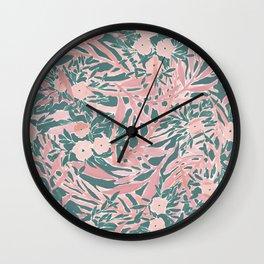 Tropical Daydream Blush Green Wall Clock