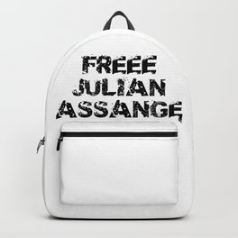 Free Julian Assange Black Grunge Backpack