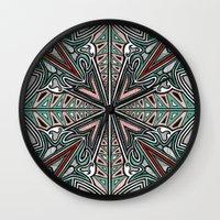 grafitti Wall Clocks featuring Tribal Grafitti 4 Symmetrical design by Yezarck